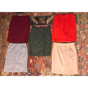 5 J. Crew Serge Wool Pencil Skirt lot all size 0P